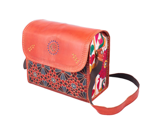 SLING BAG - Square - Leather Punch work with Handwork and Mashru Silk