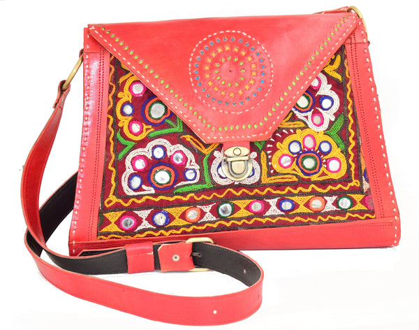 Ethnic Hand Work Embroidery Kutch Handicraft Sling Purse Mutva Work Mirror and Thread Work Patch Work Ladies Purse Aahir Rabari Work Silk Raw Silk Cotton Sling Bags Traditional Sling Shoulder Purse