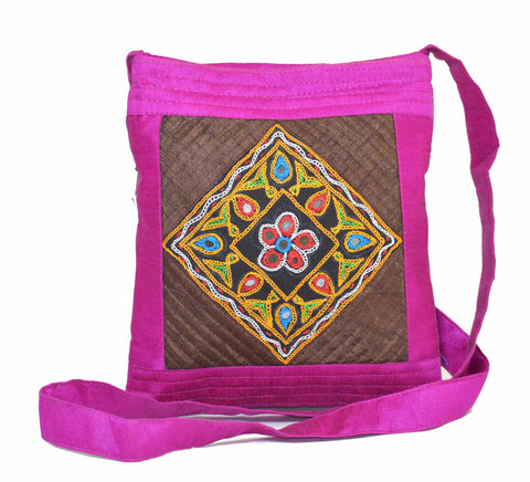 Ethnic Hand Work Embroidery Kutch Handicraft Sling Purse Mutva Work Mirror and Thread Work Patch Work Ladies Purse Mashru Silk Raw Silk Cotton Sling Bags Purse Traditional Sling Purse Shoulder Purse