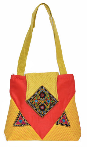 Big Flapper Bag with Kutchhi Patch work front face