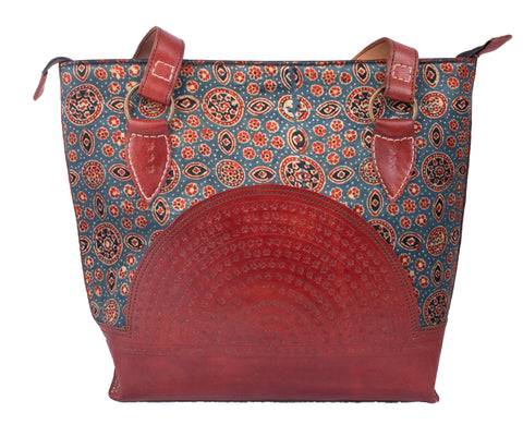 TOTE BAG - Leather Art with Mashru Silk