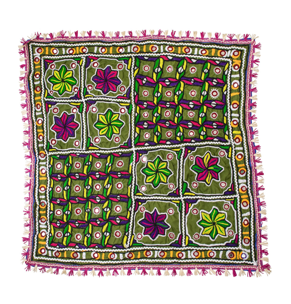 Neran Work Thread and Mirror Work Hand Embroidery Fine Mirror and Threadwork Embroidery