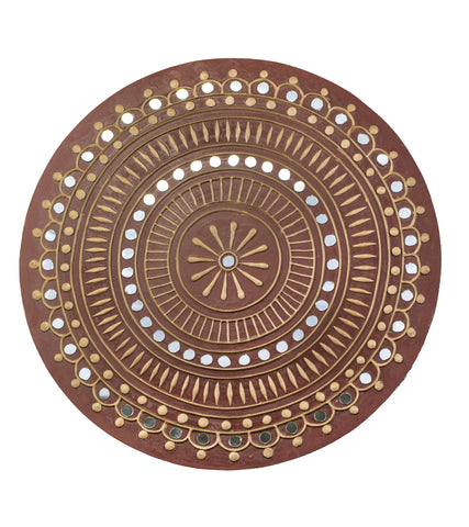 Traditional Lippan Art Mirror Work - Round - 12x12 Inch