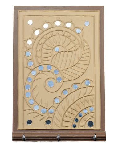 Traditional Lippan Art Mirror Work - Key Stand - 9x6 Inch