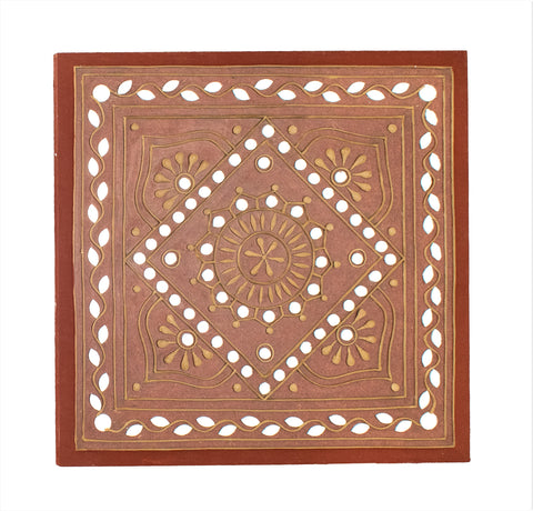WALL HANGING - Kutchhi Traditional Lippan Art Mirror Work - 12x12 Inch