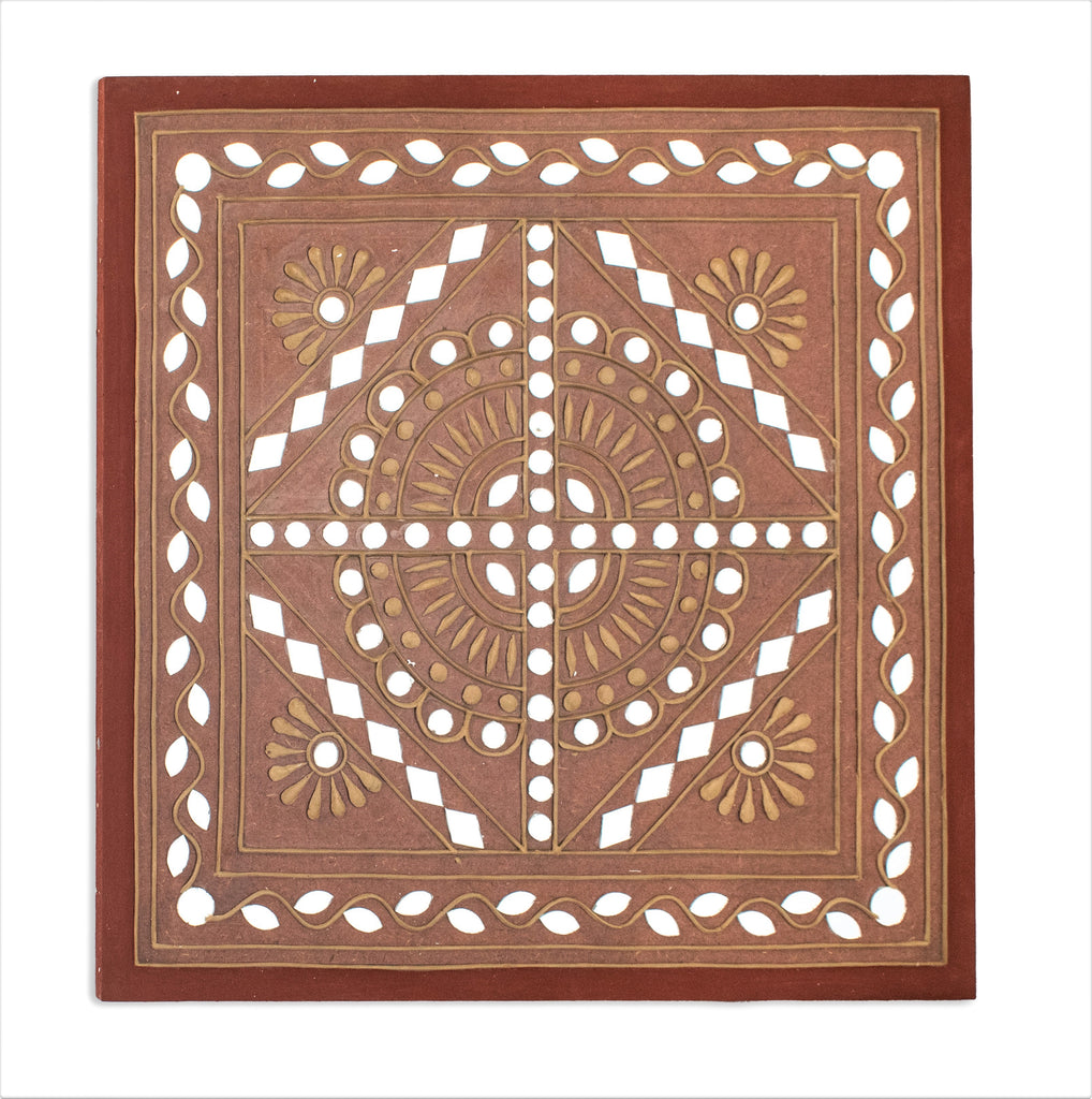 Lippan Kam Art Mud work Kutch Handicraft Mirror Clay Work Home Interior Decoration Wall Mural Décor Hanging Traditional Indian Art Work Painting House Warming Vastu Feng Shui Ethnic Decorative Article