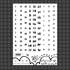 Date Numbers Sticker Sheet (f000)
