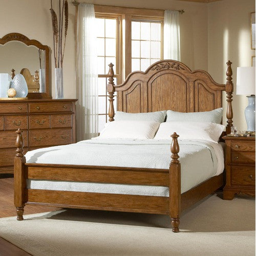 Oakridge Poster Bed In Honey Oak By Broyhill - Oakridge bedroom furniture