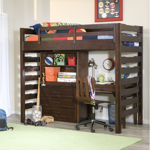 Solutions Loft Bed With Workspace In Distressed Brown Cherry By Legacy  Classic Furniture | 1962 8510 / 1962 8520