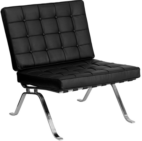 Black Leather Lounge Chair with Curved Legs