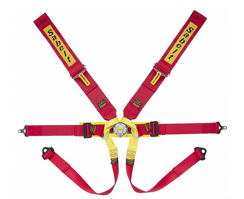 "Formula Harness (SFI Approved) Steel Adjuster, 6-point, 3"" Shoulder Straps, 2"" Lap Straps, Pull Down Lap Adjustment, Blue, Bolt in, Short Lever"