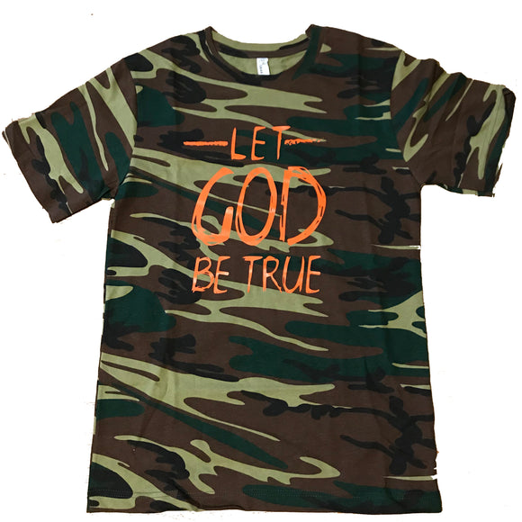 30:5 God Be True T Shirt (Limited Edition) -Camo/Orange, Small - Good Friend Graphics