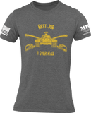 M.R.E. Clothing Graphic T-Shirt Best Job I Ever Had US Armor, Small / Dark Gray - Good Friend Graphics