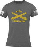 M.R.E. Clothing Graphic T-Shirt My Gun Is Bigger Than Yours US Artillery, Small / Dark Gray - Good Friend Graphics