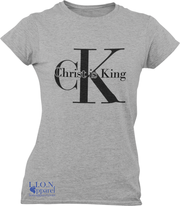 L.I.O.N. Apparel Graphic T-Shirt Christ is King, Women's Small / Light Gray - Good Friend Graphics