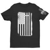 M.R.E. Clothing Graphic T-Shirt USA Flag with Cross, Small / Black - Good Friend Graphics