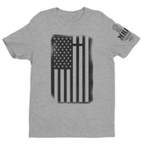 M.R.E. Clothing Graphic T-Shirt USA Flag with Cross, Small / Light Gray w/Black - Good Friend Graphics
