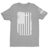 M.R.E. Clothing Graphic T-Shirt USA Flag with Cross, Small / Light Gray w/White - Good Friend Graphics