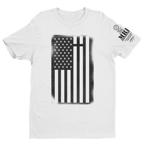 M.R.E. Clothing Graphic T-Shirt USA Flag with Cross, Small / White - Good Friend Graphics