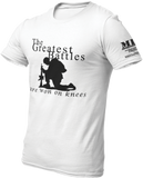 M.R.E. Clothing Graphic T-Shirt Praying Soldier, Small / White - Good Friend Graphics