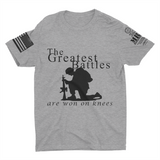 M.R.E. Clothing Graphic T-Shirt Praying Soldier, Small / Light Gray - Good Friend Graphics