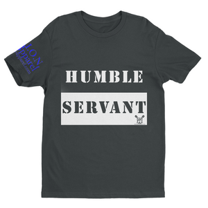 L.I.O.N. Apparel Graphic T-Shirt Humble Servant, Small / Blue on Light Gray - Good Friend Graphics