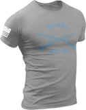 M.R.E. Clothing Graphic T-Shirt Ask Me Why the Sky is Blue US Infantryman, Small / Light Gray - Good Friend Graphics