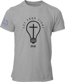 L.I.O.N. Apparel Graphic T-Shirt Let Your Light Shine, Small / Light Gray - Good Friend Graphics