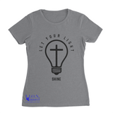 L.I.O.N. Apparel Graphic T-Shirt Let Your Light Shine, Women's Small / Light Gray - Good Friend Graphics