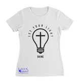L.I.O.N. Apparel Graphic T-Shirt Let Your Light Shine, Women's Small / White - Good Friend Graphics