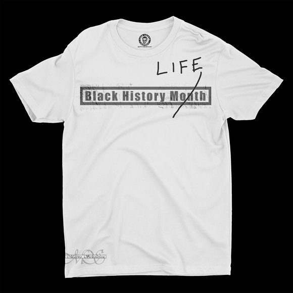 Mavro Scholeiou Graphic T-Shirt Black History Life, Small / White - Good Friend Graphics