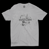 Mavro Scholeiou Graphic T-Shirt Motherland History, Small / Light Gray - Good Friend Graphics