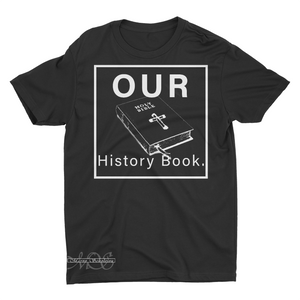 Mavro Scholeiou Graphic T-Shirt Our History Book, Small / Light Gray w/ White - Good Friend Graphics