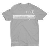Mavro Scholeiou Graphic T-Shirt Black History Life, Small / Light Gray - Good Friend Graphics
