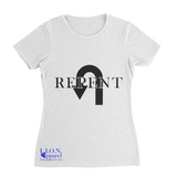 L.I.O.N. Apparel Graphic T-Shirt Repent, Women's Small / White - Good Friend Graphics