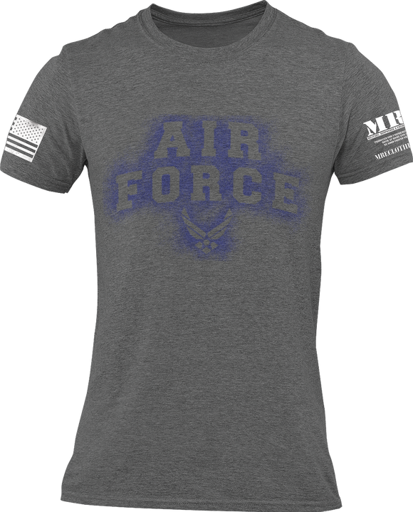 M.R.E. Clothing Graphic T-Shirt Spray Paint Air Force, Small / Dark Gray - Good Friend Graphics