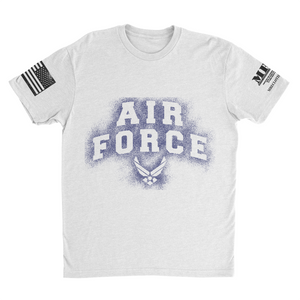 M.R.E. Clothing Graphic T-Shirt Spray Paint Air Force, Small / Light Gray - Good Friend Graphics
