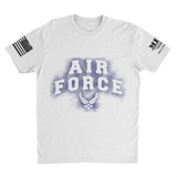 M.R.E. Clothing Graphic T-Shirt Spray Paint Air Force, Small / White - Good Friend Graphics