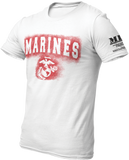 M.R.E. Clothing Graphic T-Shirt Spray Paint Marine Corps, Small / White - Good Friend Graphics
