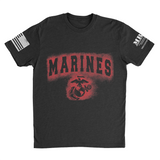 M.R.E. Clothing Graphic T-Shirt Spray Paint Marine Corps, Small / Black - Good Friend Graphics