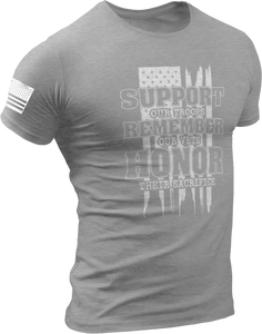 M.R.E. Clothing Graphic T-Shirt Support Remember Honor, Small / Dark Gray - Good Friend Graphics