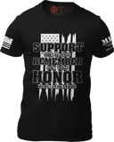 M.R.E. Clothing Graphic T-Shirt Support Remember Honor, Small / Black - Good Friend Graphics