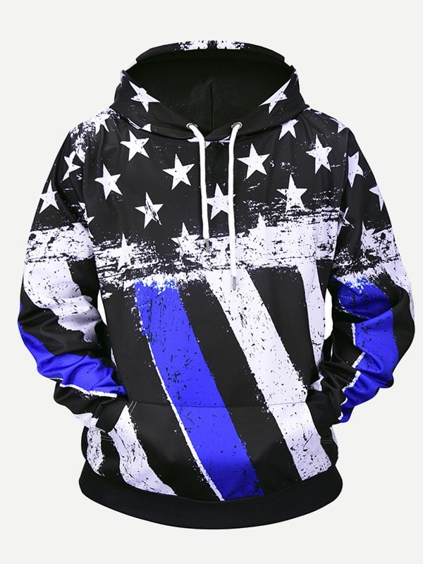 Mens Star Print Striped Hooded Sweatshirt