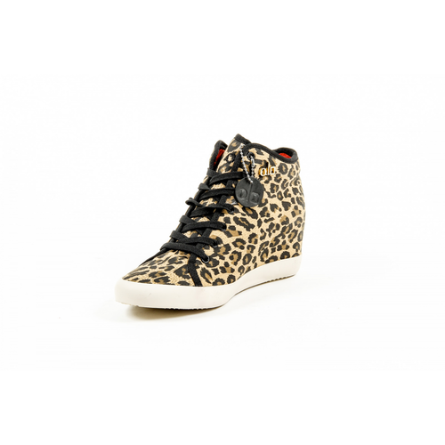 Olo Womens High Sneaker 28C12 28 ADRIANA CANVAS GOLD PRINTING STUDS