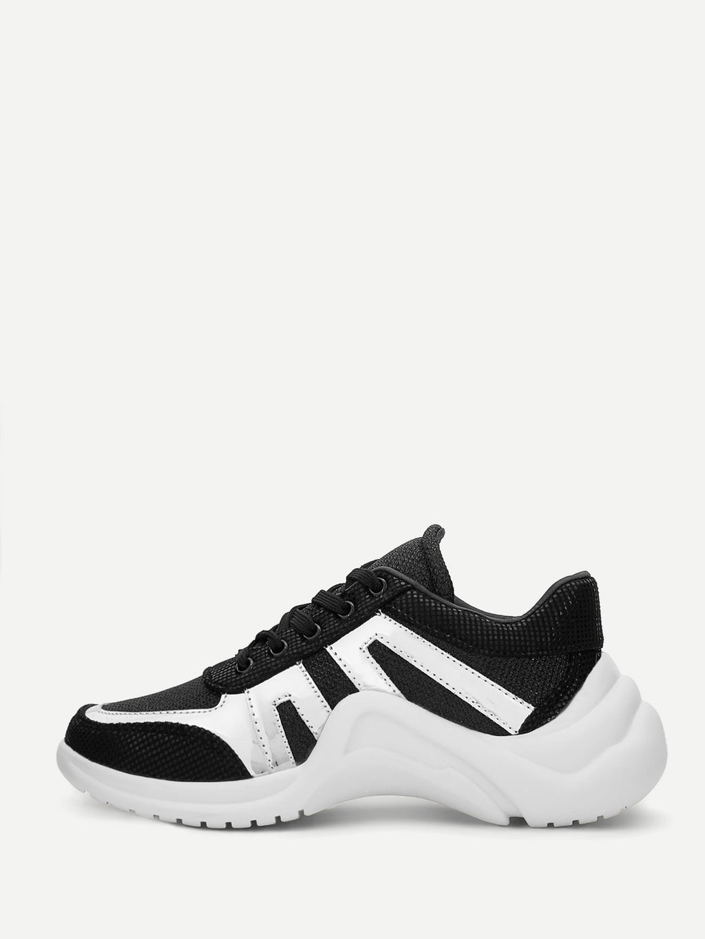 Women's Two Tone Lace-up Chunky Sneakers