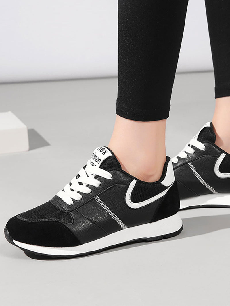 Women's Lace-up Suede Panel Sneakers