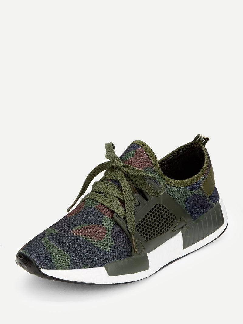 Men Camouflage Lace Up Mesh Sneakers