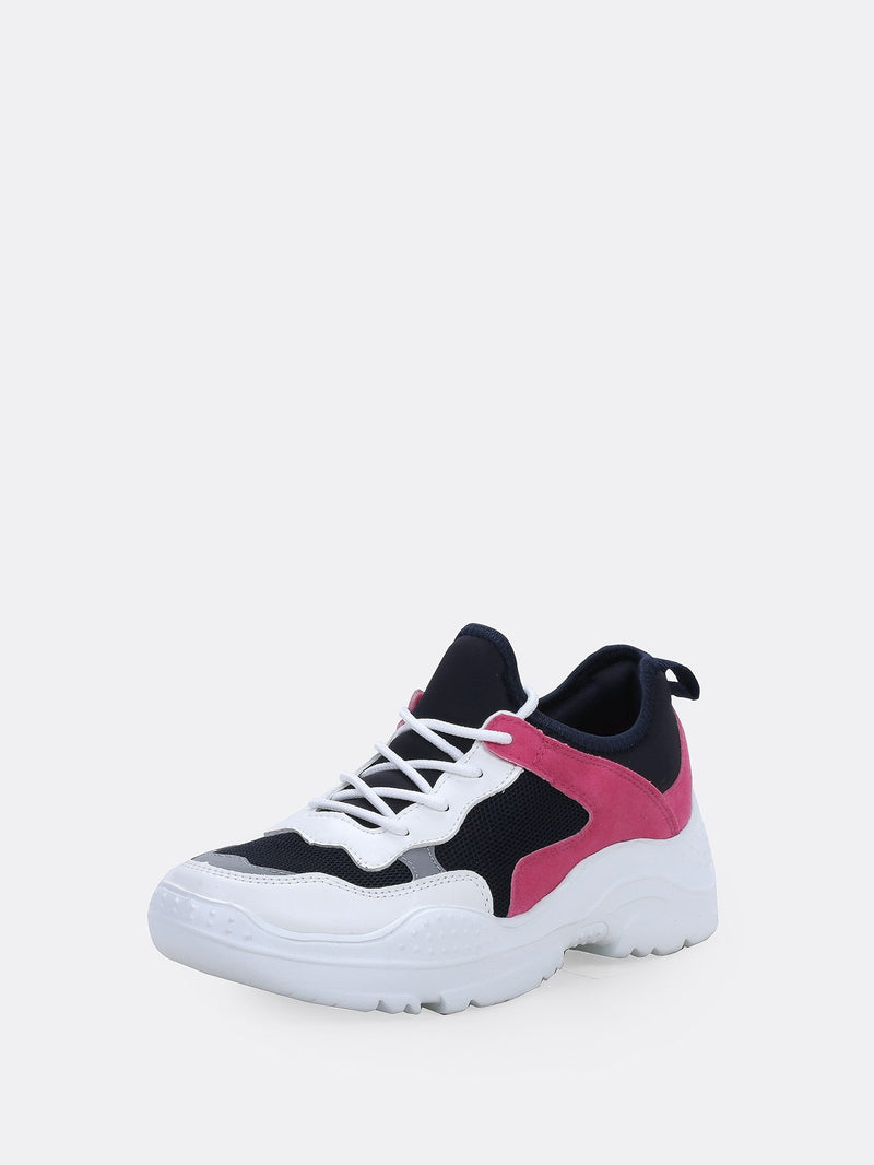 Women's Tri Tone Lace Up Thick Sole Trainer Sneakers