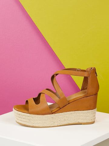 Women's Back Zip Criss Cross Straps Jute Platform Wedges