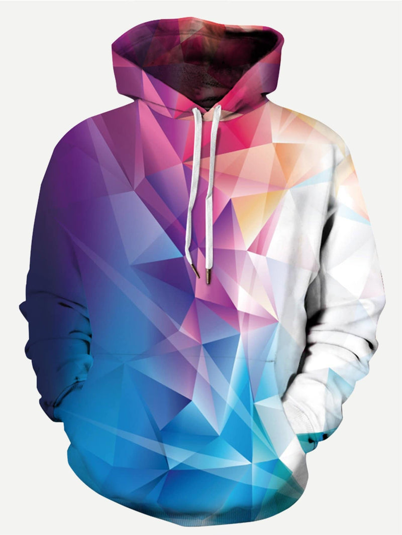 Mens Abstract Geo Print BPW Hooded Sweatshirt